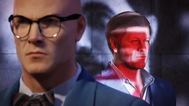 Sean Bean and nerdy Agent 47 in Hitman 2