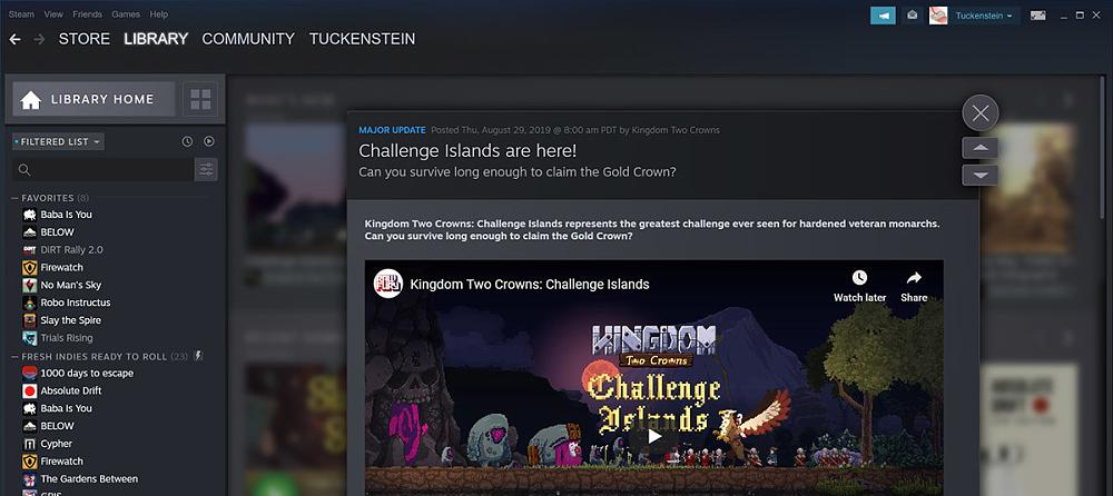 New Steam Design - events