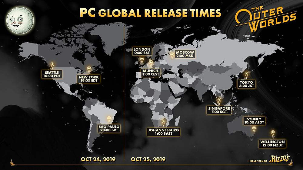 The Outer Worlds PC release times